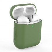 Silicone AirPods Protective Box for Apple AirPods with Charging Case (2019)/with Wireless Charging Case (2019)/with Charging Case (2016) - Dark Green