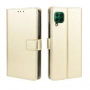 Crazy Horse Leather Wallet Case for Huawei P40 lite/nova 7i/nova 6 SE - Gold