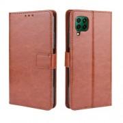Crazy Horse Leather Wallet Case for Huawei P40 lite/nova 7i/nova 6 SE - Brown
