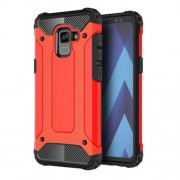 Armor Guard Plastic + TPU Hybrid Mobile Phone Case for Samsung Galaxy A8 (2018) - Red