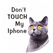 Expanding Finger Grip Desktop Mount for Smartphone Tablet - Do Not Touch My iPhone and Cat Staring