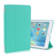 Tri-fold Stand Smart Leather Cover + Companion Plastic Case for iPad Pro 9.7 - Cyan