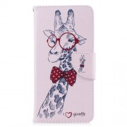 Pattern Printing PU Leather Magnetic Wallet Stand Mobile Phone Case for Xiaomi Redmi 5 - Giraffe