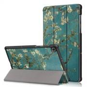 Δερμάτινη Θήκη Βιβλίο Tri-Fold με Βάση Στήριξης για Lenovo Tab M10 FHD Plus X606F 10.3 ίντσες - Ανθισμένα Κλαδιά σε Μπλε Φόντο