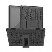 Anti-slip PC + TPU Hybrid Case with Kickstand for Lenovo Tab E10 TB-X104F - Black