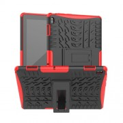 Anti-slip PC + TPU Hybrid Case with Kickstand for Lenovo Tab E10 TB-X104F - Red