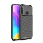 Carbon Fiber Texture Shockproof TPU Phone Cover for Huawei Y7p/P40 lite E- Black