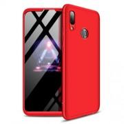 GKK 360 μοιρών Σκληρή Θήκη Ματ με Βελούδινη Υφή Πρόσοψης και Πλάτης για Huawei P Smart (2019) / Honor 10 Lite - Κόκκινο