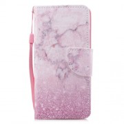 Cross Texture Pattern Printing Wallet Stand Leather Protective Shell for Huawei P20 Lite/Nova 3e - Pink Marble