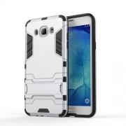 Υβριδική Θήκη Συνδυασμού Σιλικόνης και Πλαστικού με Βάση Στήριξης για Samsung Galaxy J7 (2016) - Ασημί