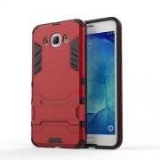 Υβριδική Θήκη Συνδυασμού Σιλικόνης και Πλαστικού με Βάση Στήριξης για Samsung Galaxy J7 (2016) - Κόκκινο