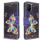 Pattern Printing Wallet Leather Flip Cover Case for Samsung Galaxy A51 - Gold Butterfly