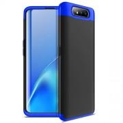 GKK 360 μοιρών Σκληρή Θήκη Ματ με Βελούδινη Υφή Πρόσοψης και Πλάτης για Samsung Galaxy A80/A90 - Μαύρο / Μπλε