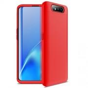 GKK 360 μοιρών Σκληρή Θήκη Ματ με Βελούδινη Υφή Πρόσοψης και Πλάτης για Samsung Galaxy A80/A90 - Κόκκινο