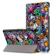 Pattern Printing Tri-fold Stand PU Leather Smart Case for Samsung Galaxy Tab S5e SM-T720/SM-T725 - Skulls Pattern