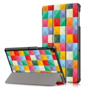 Pattern Printing Tri-fold Stand PU Leather Smart Case for Samsung Galaxy Tab S5e SM-T720/SM-T725 - Colorful Triangles Grids