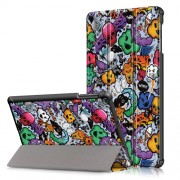 Pattern Printing Tri-fold Stand Leather Tablet Cover for Samsung Galaxy Tab A 10.1 (2019) T515/T510 - Skull Monster