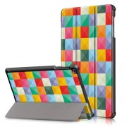 Pattern Printing Tri-fold Stand Leather Tablet Cover for Samsung Galaxy Tab A 10.1 (2019) T515/T510 - Colorized Checks