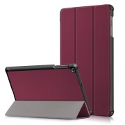PU Leather Tri-fold Stand Tablet Case Cover for for Samsung Galaxy TAB A 10.1 2019 SM-T510/SM-T515 - Wine Red