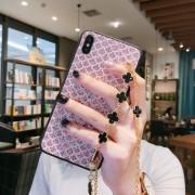Υβριδική Θήκη Σιλικόνης με Πλαστικό με Αλυσίδα Ώμου και Αστραφτερά Στοιχεία για iPhone XS / X - Ροζ