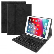 Detachable Bluetooth Keyboard Leather Stand Flip Case with Pen Slot for iPad Air 1/2 iPad Pro 9.7/ iPad 9.7 (2017/2018) - Black