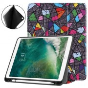 Pattern Printing Leather Tri-fold Stand Smart Tablet Accessory Case for iPad 9.7 (2018) / 9.7 (2017) / Air 2 / Air - Geometric P