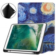 Pattern Printing Leather Tri-fold Stand Smart Tablet Accessory Cover for iPad 9.7 (2018) / 9.7 (2017) / Air 2 / Air - Oil Painti