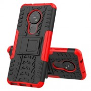 Υβριδική Θήκη Σιλικόνης και Πλαστικού με Βάση Στήριξης για Nokia 7.2 / 6.2 - Μαύρο / Κόκκινο