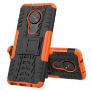 Υβριδική Θήκη Σιλικόνης και Πλαστικού με Βάση Στήριξης για Nokia 7.2 / 6.2 - Μαύρο / Πορτοκαλί