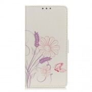 Pattern Printing Magnetic Leather Stand Cover for Xiaomi Redmi Note 9 Pro/Note 9 Pro Max - Butterfly and Flower
