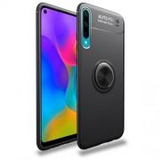 Θήκη Σιλικόνης Ενισχυμένη με Μαγνητικό Δαχτυλίδι που Κάνει Βάση Στήριξης για Huawei P Smart Plus 2019 / Honor 20 Lite - Μαύρο