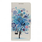 Pattern Printing PU Leather Wallet Stand Phone Case for Xiaomi Mi 10 5G/Mi 10 Pro 5G - Blue Tree with Birdcage