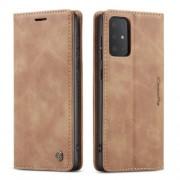 CASEME 013 Series Δερμάτινη Θήκη Πορτοφόλι με Βάση Στήριξης για Samsung Galaxy S20 Ultra - Καφέ Ανοιχτό