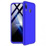 GKK 360 μοιρών Σκληρή Θήκη Ματ με Βελούδινη Υφή Πρόσοψης και Πλάτης για Samsung Galaxy M20 - Μπλε