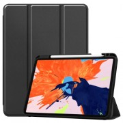For iPad Pro 12.9-inch (2020) / (2018) Tri-fold with Stand Leather Smart Case with Pen Slot - Black