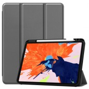 For iPad Pro 12.9-inch (2020) / (2018) Tri-fold with Stand Leather Smart Case with Pen Slot - Grey