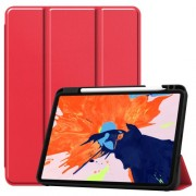 For iPad Pro 12.9-inch (2020) / (2018) Tri-fold with Stand Leather Smart Case with Pen Slot - Red