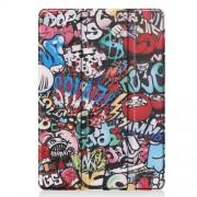 Pattern Printing PU Leather Tri-fold Stand Tablet Case for iPad 10.2 (2019) - Graffiti Pattern
