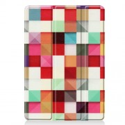 Pattern Printing PU Leather Tri-fold Stand Tablet Case for iPad 10.2 (2019) - Colorful Squares