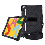 [Built-in Hand Strap] Rotating Kickstand PC + Thicken Silicone Tablet Combo Case with Shoulder Strap for iPad 10.2 (2019) - All