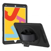 Heavy Duty PC TPU Hybrid Kickstand Tablet Case [with Hand Strap] for iPad 10.2 (2019) - Black