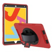 Heavy Duty PC TPU Hybrid Kickstand Tablet Case [with Hand Strap] for iPad 10.2 (2019) - Red
