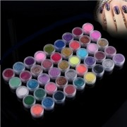 45 Colors Nail Art Glitter Shimmer Dust Powder Tips Decoration Set