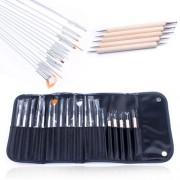 5PCS Point Drill Painting Pen Dotting Pen + 15PCS Nail Art Brushes Set For Salon Manicure DIY Nail Tools with Bag