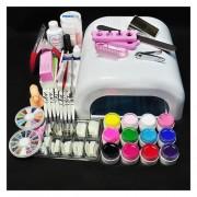 DIY Nail Art Tool Set 36W UV Gel White Lamp & 12-Color UV Gel Nail Art Tool Kit - EU Plug