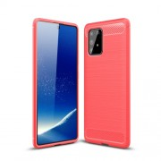 Carbon Fiber Texture Brushed TPU Cell Phone Cover for Samsung Galaxy A91/S10 Lite - Red