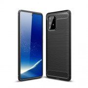 Carbon Fiber Texture Brushed TPU Cell Phone Cover for Samsung Galaxy A91/S10 Lite - Black