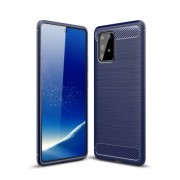Carbon Fiber Texture Brushed TPU Cell Phone Cover for Samsung Galaxy A91/S10 Lite - Blue