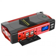 JXIANG JX19 High-Power Automobile Emergency Mobile Power Supply Kits 4USB 4-LED with Emergency Hammer - Κόκκινο