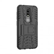 Anti-slip PC + TPU Combo Case with Kickstand for Nokia 4.2 (2019) - Black